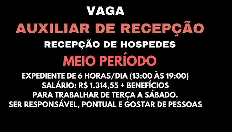 Vaga de Emprego Para Auxiliar de Recepção – Salário R$ 1.314,55