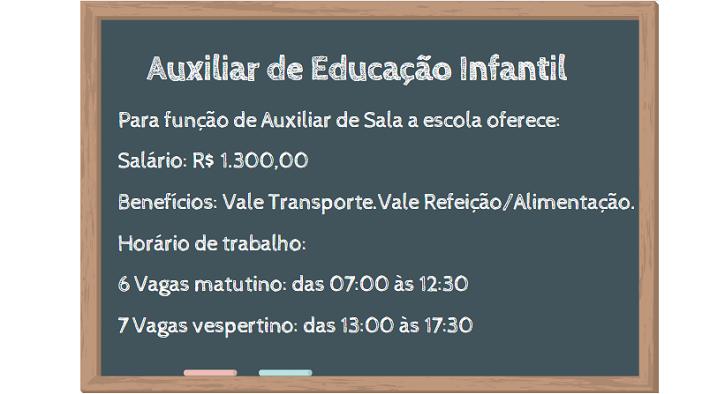 Vaga para Auxiliar de Educação Infantil: Escola oferece Salário de R$ 1.300,00.